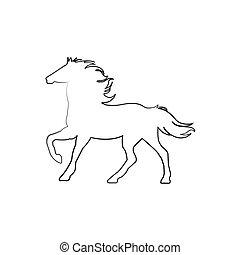 -, 馬, 線, 立ちなさい, アイコン, ベクトル