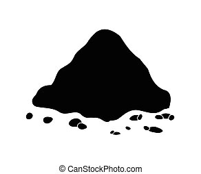 -, 黑色半面畫像, 背景。, 矢量, 堆, 地面, 土壤, 被隔离, 白色, 插圖, 堆