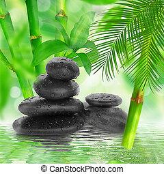 -, 黒, 竹, 背景, 石, エステ, 水
