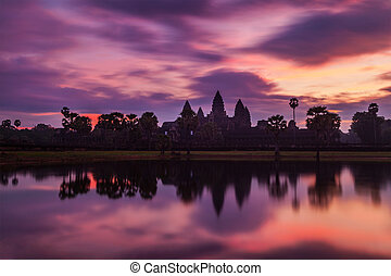 -, 멋진, angkor, 캄보디아의, 경계표, wat, 해돋이