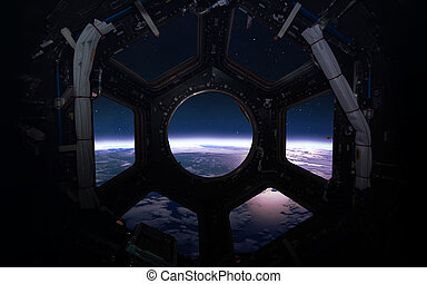 -, 심상, 행성, 체계, porthole., 성분, 우주선, 태양의, 아름다움, 이것, nasa, 공급된다, 창문, 지구