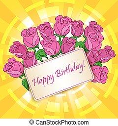 -, 인사, 생일, 장미, 벡터, 카드, 행복하다