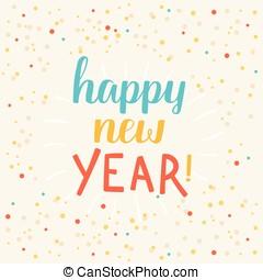 -, 카드, 새해, 인사, 행복하다