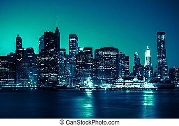 -, 파노라마, 지평선, 요크, 밤, 새로운, 맨해튼, 보이는 상태