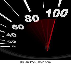 -, 100, correndo, velocímetro, mph