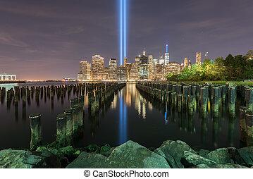 -, 11, tributo, septiembre, luz