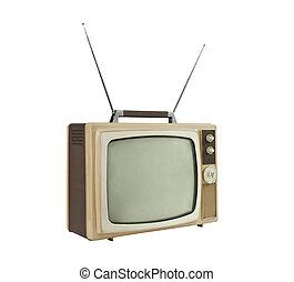 -, 1960's, 角度, ポータブル, アンテナ, 側, の上, テレビ
