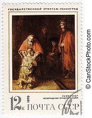 -, 1970, :, urss, environ, retourner, image, imprimé, artiste, fils, spectacles, timbre, prodigue, rembrandt