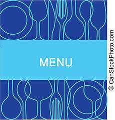 -2, 藍色的背景, 菜單, 餐館