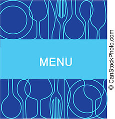 -2, arrière-plan bleu, menu, restaurant