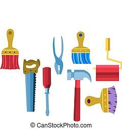 -2, illustratie, gereedschap, verzameling, vector, werken