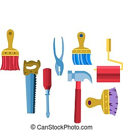 -2, ilustración, herramientas, colección, vector, trabajo