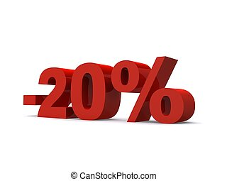 -20% - 3d rendered illustration of a red -20% sign