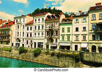 -, 2014:, スロベニア, 古い, 堤防, 7月, 町, ljubljana, 28, lju