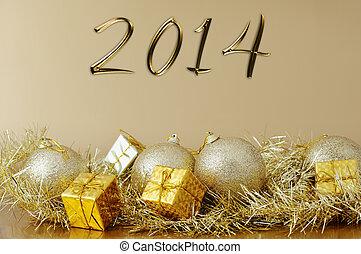 -, 2014, anno nuovo, decorazione, natale, felice