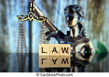 -, 2020:, justice, scrabble, mot, pologne, studio, fait, droit & loi, prise vue., wroclaw, 28, février, symbole, lettres, arrière-plan.