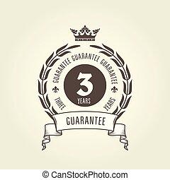 -, 3, 保証, 保証書, シック, 紋章, シール, 年