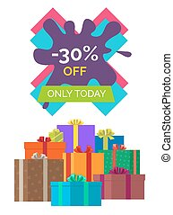 -30 off Only Today Sale Vector illustration Label - -30 off...
