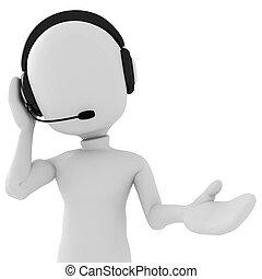 -, 3d, calldesk, man