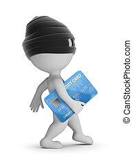 -, 3d, carte, gens, voleur, crédit, petit