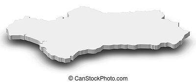 -, 3d-illustration, mapa, andalucía, (spain)