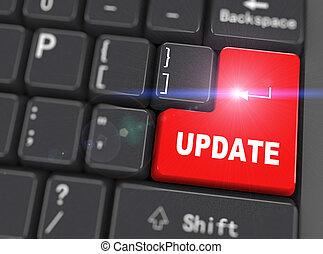 -, 3d, palabra, actualización, teclado