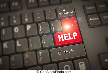 -, 3d, palabra, ayuda, teclado