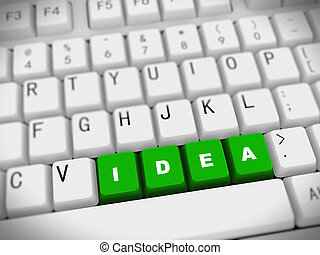 -, 3d, palabra, idea, teclado
