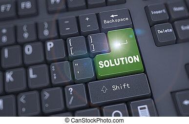 -, 3d, palabra, solución, teclado