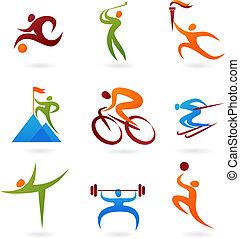 -4, sport, samling, ikon