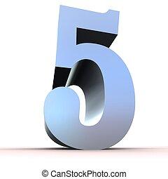 -, 5, argento, numero