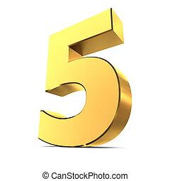 -, 5, glanzend, goud, getal