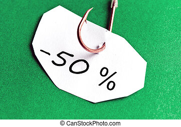 -50% message on paper on green background