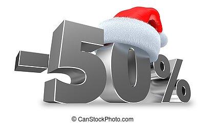 -50, sur, cent, vente, illustration, fond, blanc, 3d