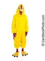 -, aanzicht, chicken, man, volle