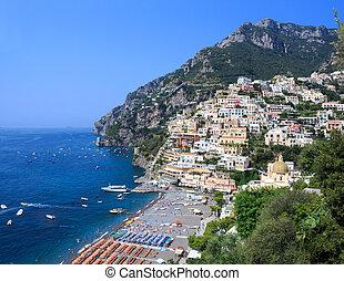 -, aanzicht, positano, amalfi kust