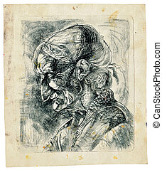 -, abbildung, hand, menschliche , gezeichnet, gesicht