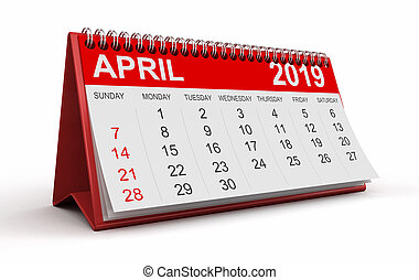 -, abril, (clipping, 2019, included), calendario, ...