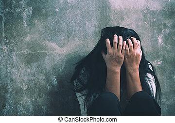 -, abuse., femme, violence, conjugal, pleurer, victime, déprimé, jeune
