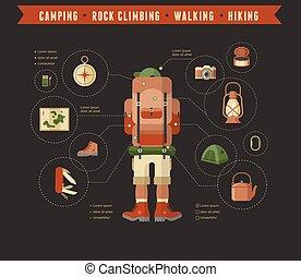 -, acampamento, ícone, jogo, equipamento hiking, infographics