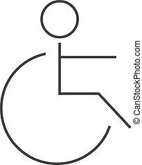 -, accès rendu infirme, icône, contour