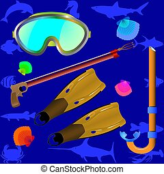 -, accesorios, spearfishing., collage