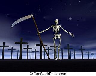 -, accueil, cimetière, render, 3d
