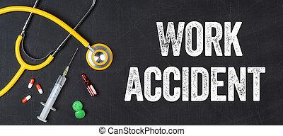 -, acidente, farmacêutica, estetoscópio, trabalho, quadro-negro