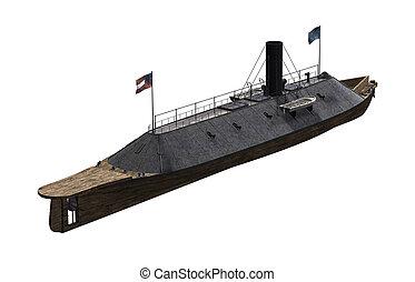 -, acorazado, virginia, css, guerra civil, buque de guerra
