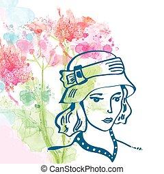 -, acquarello, s, retro, fondo, floreale, ragazza, cappello, scheda