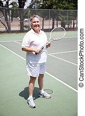 -, actief, tennis, oude vrouw