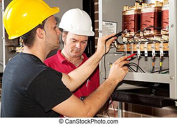 -, addestramento, elettricista, professionale