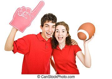 -, adolescente par, fútbol, ventiladores
