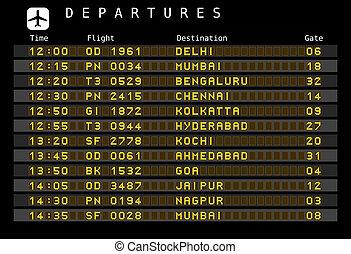 -, aeroporto, índia, partidas